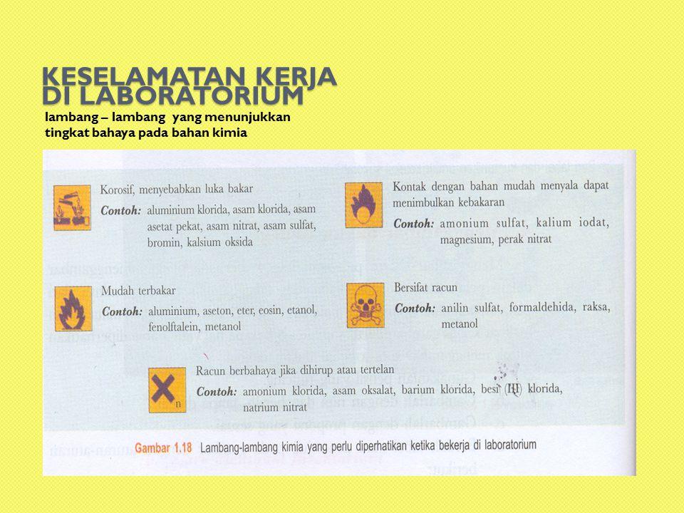 KESELAMATAN KERJA DI LABORATORIUM lambang – lambang yang menunjukkan tingkat bahaya pada bahan kimia