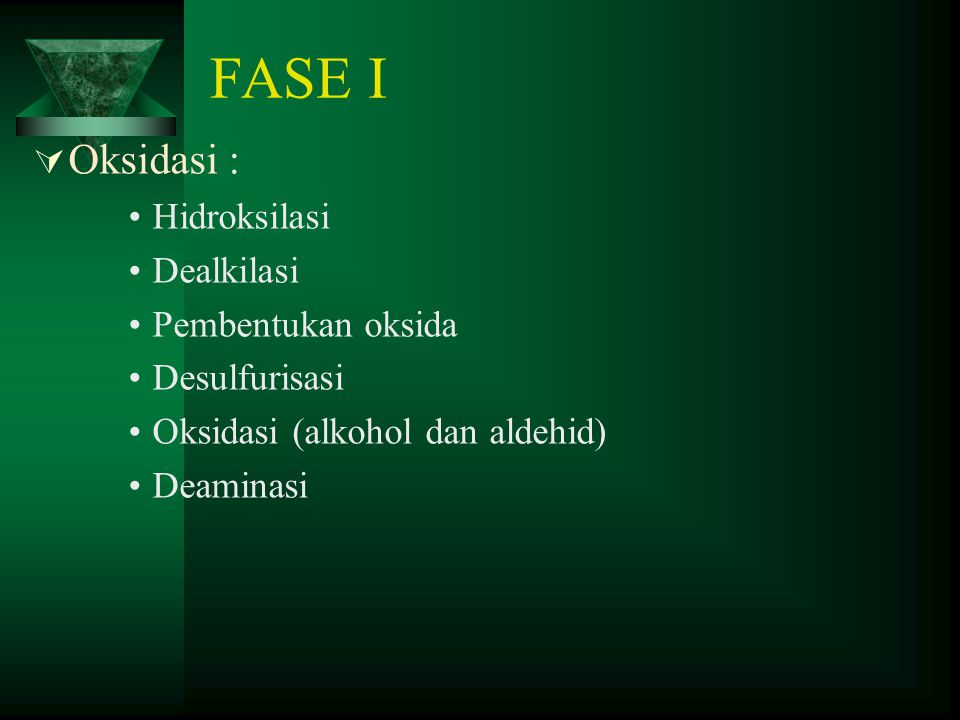 FASE I  Oksidasi : Hidroksilasi Dealkilasi Pembentukan oksida Desulfurisasi Oksidasi (alkohol dan aldehid) Deaminasi