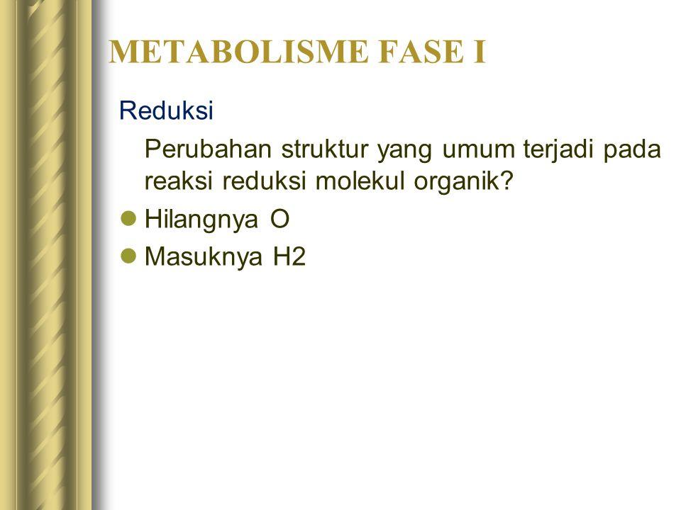 METABOLISME FASE I Reduksi Perubahan struktur yang umum terjadi pada reaksi reduksi molekul organik? Hilangnya O Masuknya H2