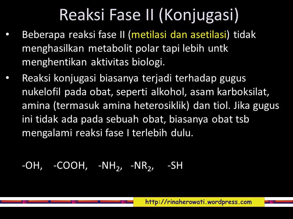 Reaksi Fase II (Konjugasi) Beberapa reaksi fase II (metilasi dan asetilasi) tidak menghasilkan metabolit polar tapi lebih untk menghentikan aktivitas