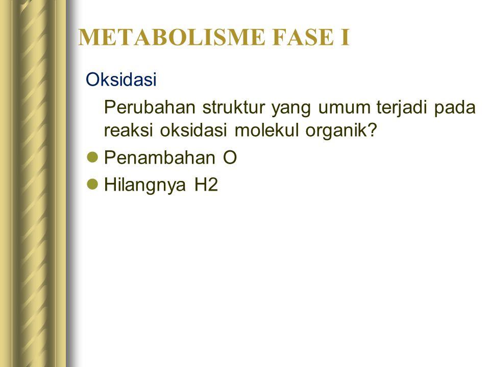 METABOLISME FASE I Oksidasi Perubahan struktur yang umum terjadi pada reaksi oksidasi molekul organik? Penambahan O Hilangnya H2
