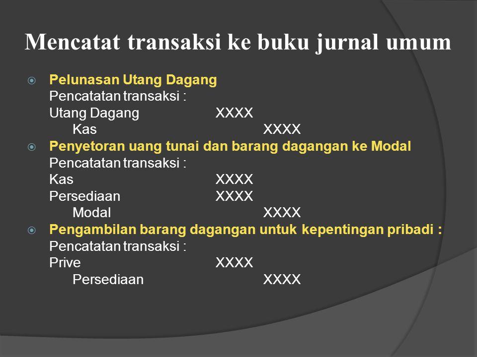 Mencatat transaksi ke buku jurnal umum  Retur Pembelian secara kredit Pencatatan transaksi : Utang DagangXXXX Retur PembelianXXXX  Retur Pembelian s