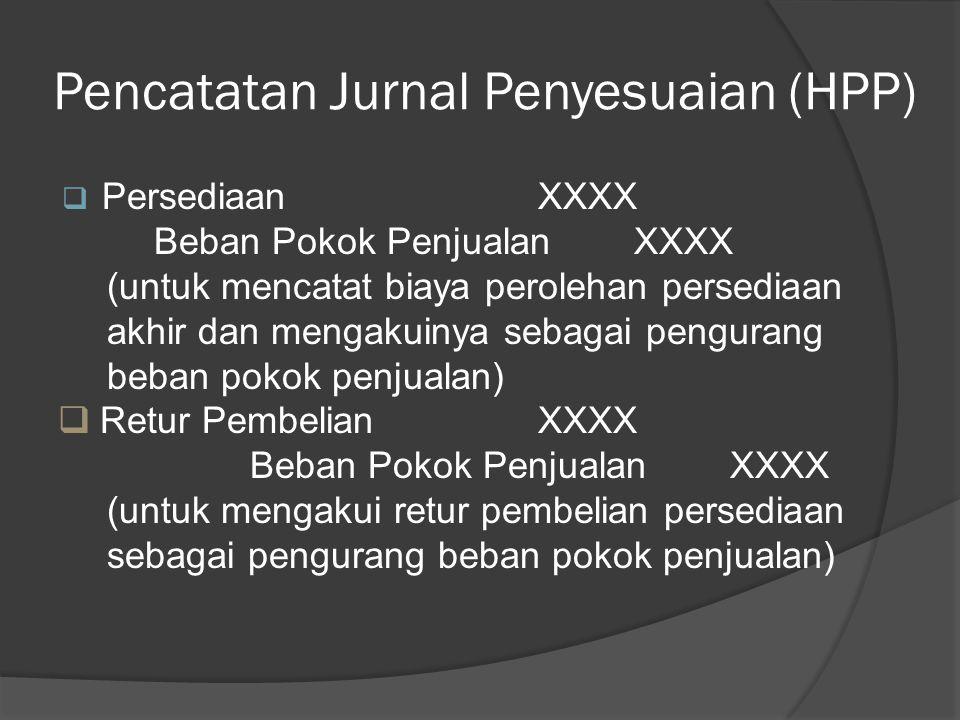 Pencatatan Jurnal Penyesuaian (HPP)  Beban Pokok PenjualanXXXX Pengangkutan PembelianXXXX (untuk membebankan biaya angkut persediaan yang dibeli ke b