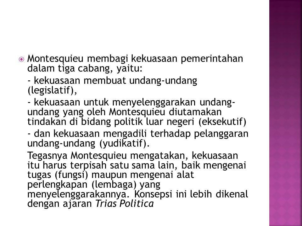  Montesquieu membagi kekuasaan pemerintahan dalam tiga cabang, yaitu: - kekuasaan membuat undang-undang (legislatif), - kekuasaan untuk menyelenggara