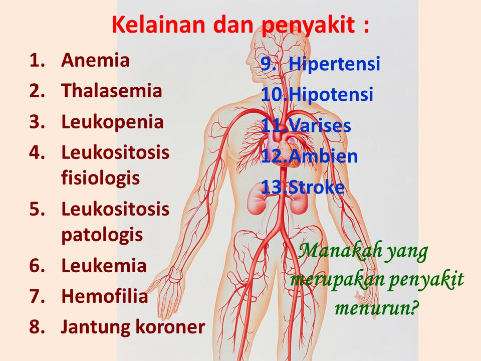 Kelainan dan penyakit : 1.Anemia 2.Thalasemia 3.Leukopenia 4.Leukositosis fisiologis 5.Leukositosis patologis 6.Leukemia 7.Hemofilia 8.Jantung koroner