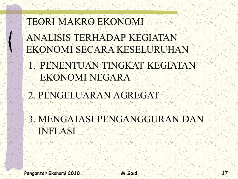 Pengantar Ekonomi 2010M.Said17 TEORI MAKRO EKONOMI ANALISIS TERHADAP KEGIATAN EKONOMI SECARA KESELURUHAN 1.PENENTUAN TINGKAT KEGIATAN EKONOMI NEGARA 2