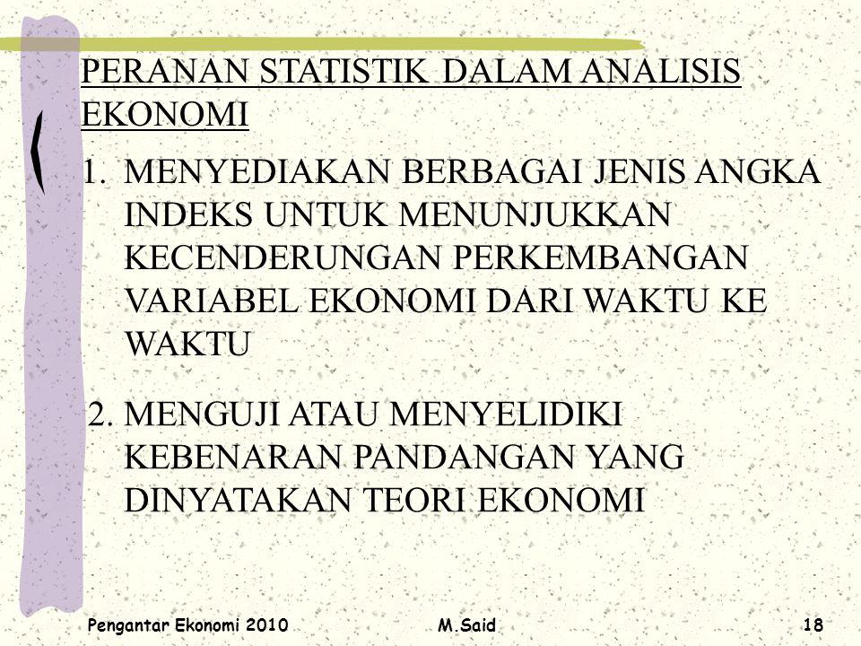 Pengantar Ekonomi 2010M.Said18 PERANAN STATISTIK DALAM ANALISIS EKONOMI 1.MENYEDIAKAN BERBAGAI JENIS ANGKA INDEKS UNTUK MENUNJUKKAN KECENDERUNGAN PERK