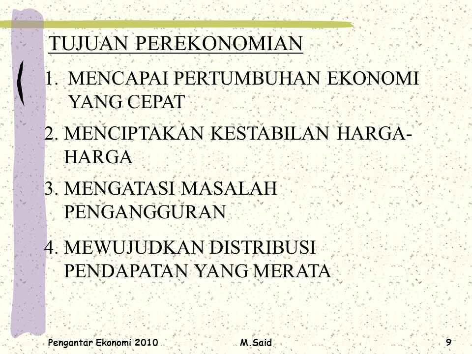 Pengantar Ekonomi 2010M.Said9 TUJUAN PEREKONOMIAN 1.MENCAPAI PERTUMBUHAN EKONOMI YANG CEPAT 2. MENCIPTAKAN KESTABILAN HARGA- HARGA 3. MENGATASI MASALA