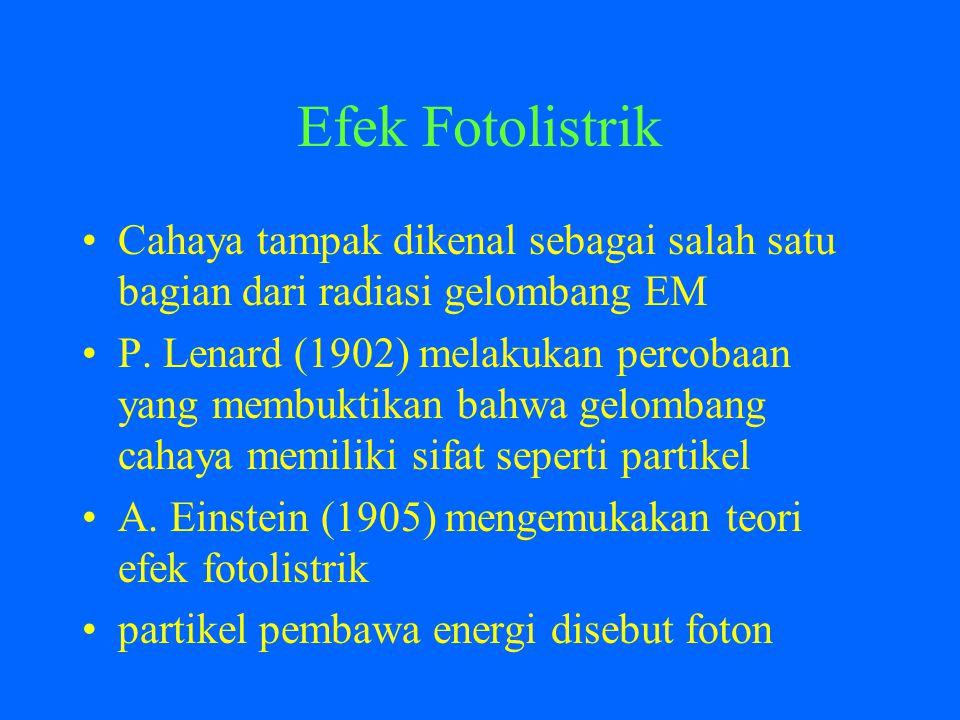 Efek Fotolistrik Cahaya tampak dikenal sebagai salah satu bagian dari radiasi gelombang EM P.