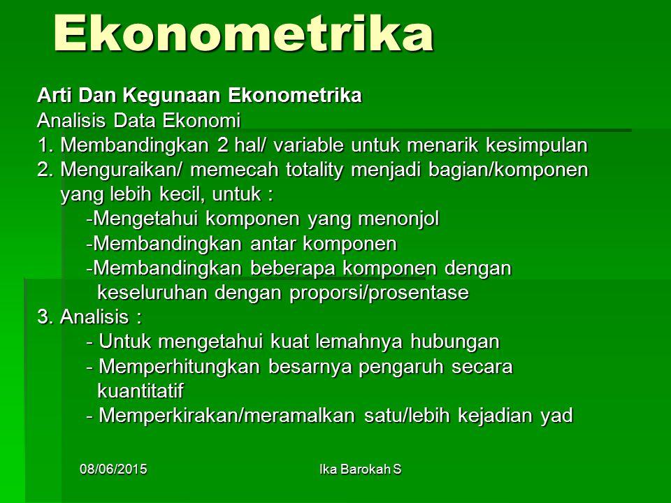 Ekonometrika Arti Dan Kegunaan Ekonometrika Analisis Data Ekonomi 1.