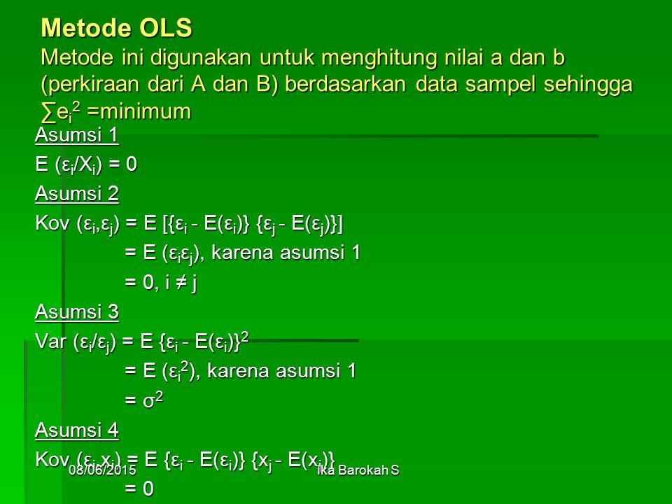Metode OLS Metode ini digunakan untuk menghitung nilai a dan b (perkiraan dari A dan B) berdasarkan data sampel sehingga ∑e i 2 =minimum Asumsi 1 E (ε i /X i ) = 0 Asumsi 2 Kov (ε i,ε j ) = E [{ε i - E(ε i )} {ε j - E(ε j )}] = E (ε i ε j ), karena asumsi 1 = E (ε i ε j ), karena asumsi 1 = 0, i ≠ j = 0, i ≠ j Asumsi 3 Var (ε i /ε j ) = E {ε i - E(ε i )} 2 = E (ε i 2 ), karena asumsi 1 = E (ε i 2 ), karena asumsi 1 = σ 2 = σ 2 Asumsi 4 Kov (ε i,x i ) = E {ε i - E(ε i )} {x j - E(x j )} = 0 = 0 08/06/2015Ika Barokah S