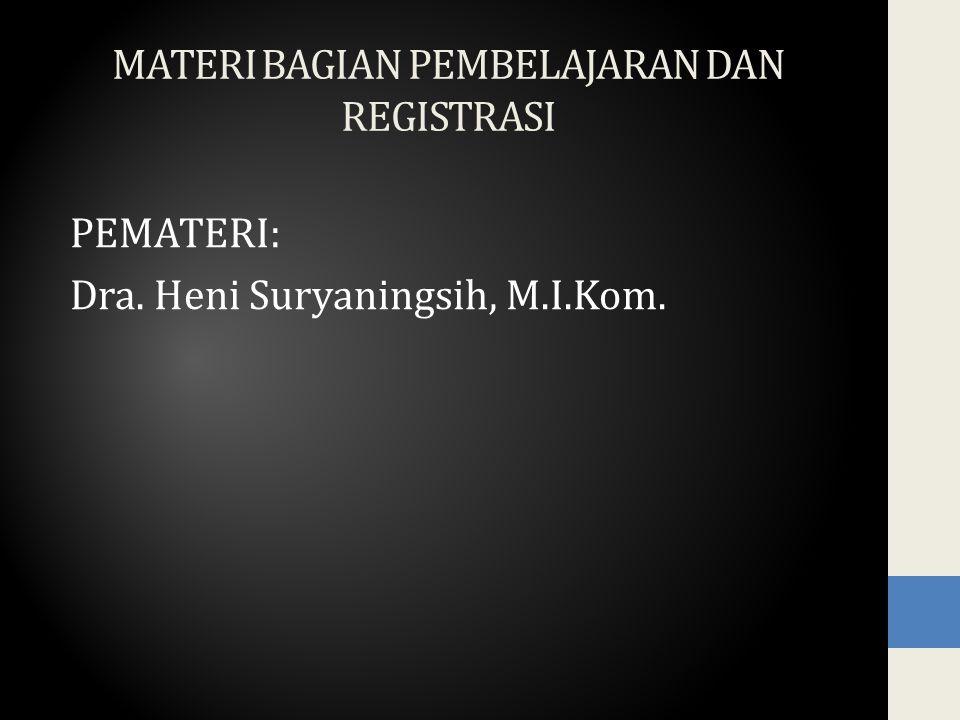 MATERI BAGIAN PEMBELAJARAN DAN REGISTRASI PEMATERI: Dra. Heni Suryaningsih, M.I.Kom.