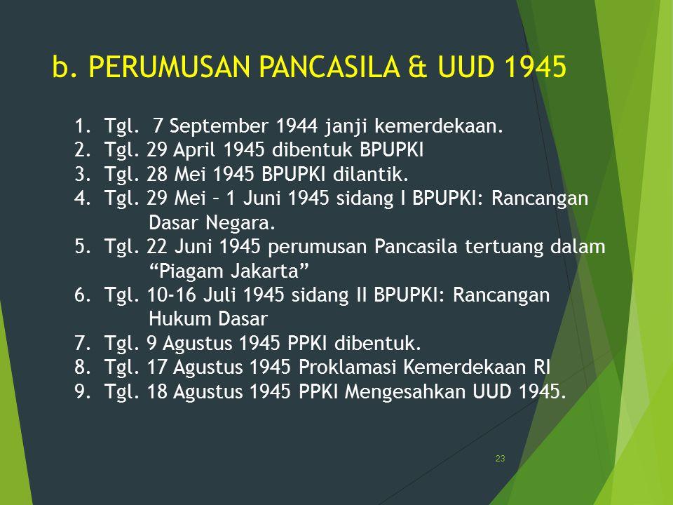 b. PERUMUSAN PANCASILA & UUD 1945 1. Tgl. 7 September 1944 janji kemerdekaan. 2. Tgl. 29 April 1945 dibentuk BPUPKI 3. Tgl. 28 Mei 1945 BPUPKI dilanti