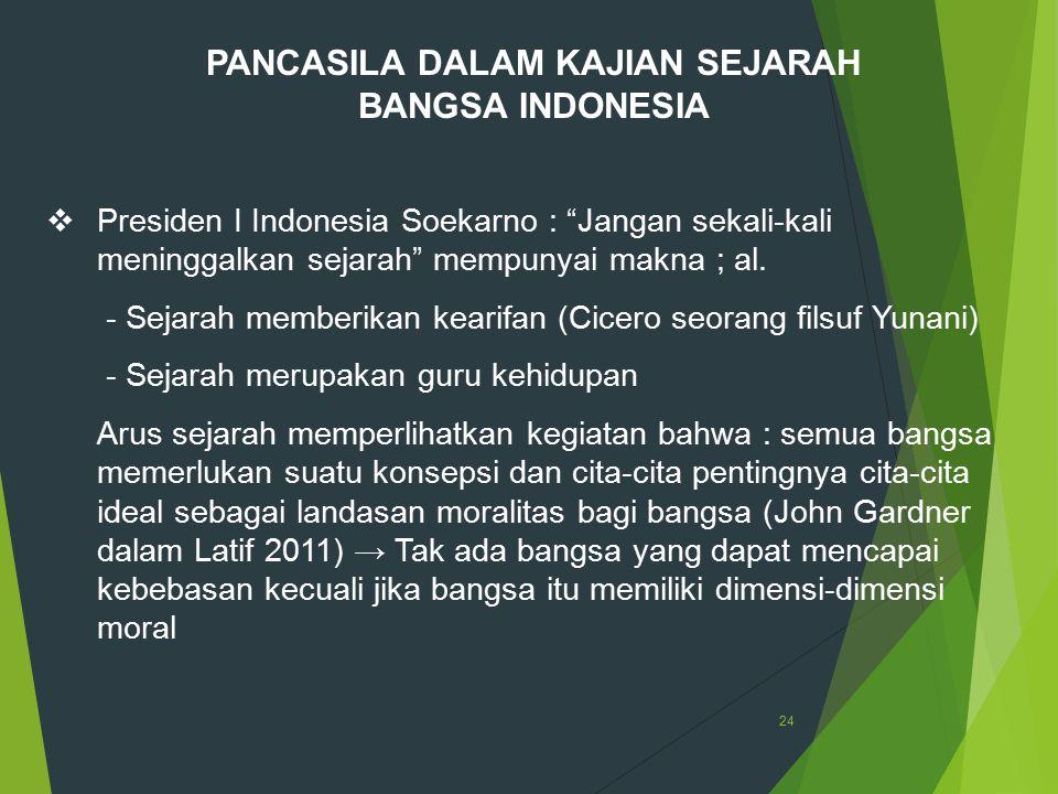 """24 PANCASILA DALAM KAJIAN SEJARAH BANGSA INDONESIA  Presiden I Indonesia Soekarno : """"Jangan sekali-kali meninggalkan sejarah"""" mempunyai makna ; al. -"""