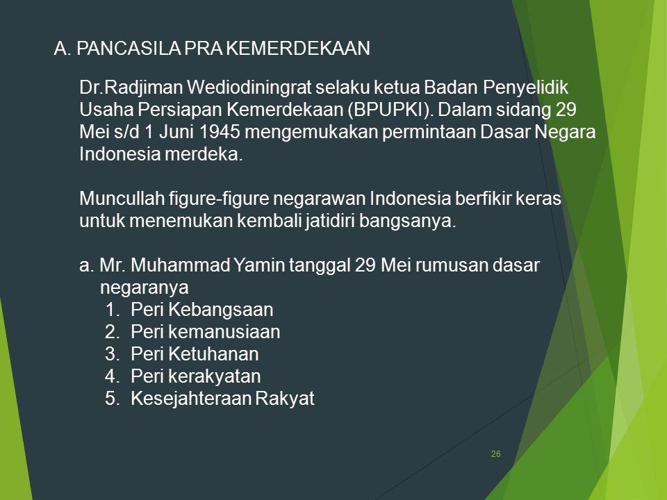 26 A. PANCASILA PRA KEMERDEKAAN Dr.Radjiman Wediodiningrat selaku ketua Badan Penyelidik Usaha Persiapan Kemerdekaan (BPUPKI). Dalam sidang 29 Mei s/d