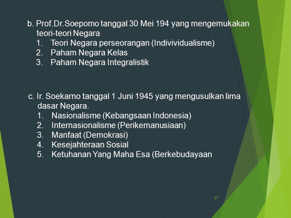 27 b. Prof.Dr.Soepomo tanggal 30 Mei 194 yang mengemukakan teori-teori Negara 1.Teori Negara perseorangan (Indivividualisme) 2.Paham Negara Kelas 3.Pa