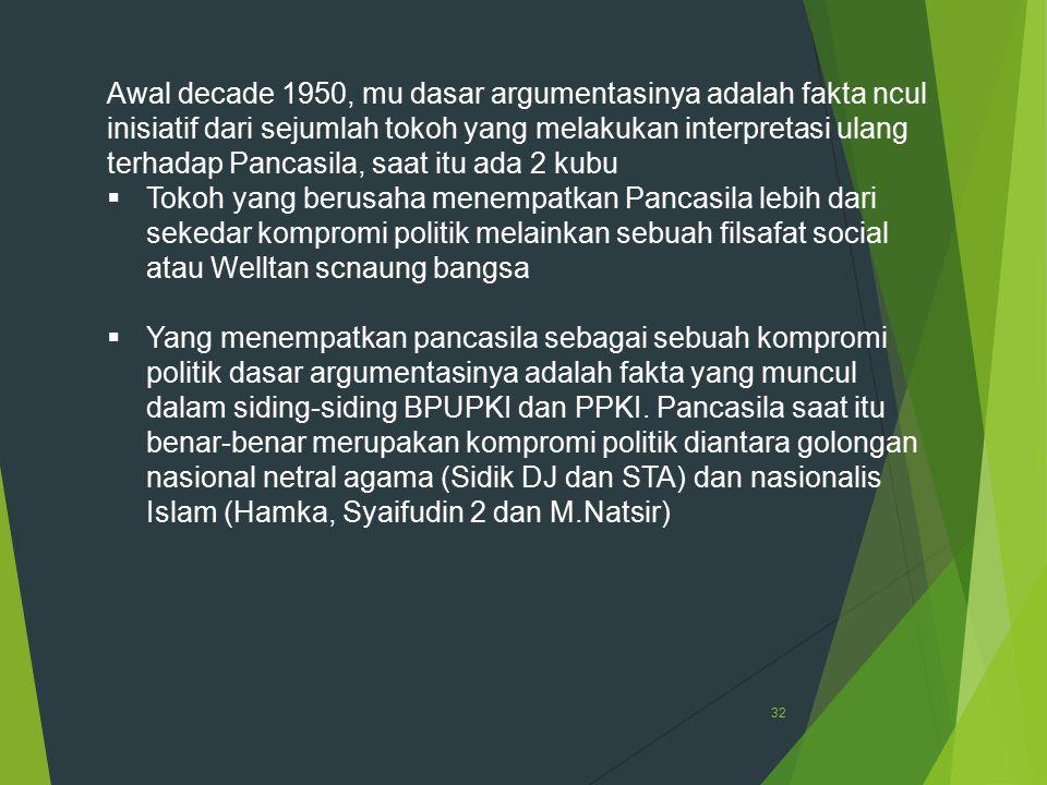 32 Awal decade 1950, mu dasar argumentasinya adalah fakta ncul inisiatif dari sejumlah tokoh yang melakukan interpretasi ulang terhadap Pancasila, saa