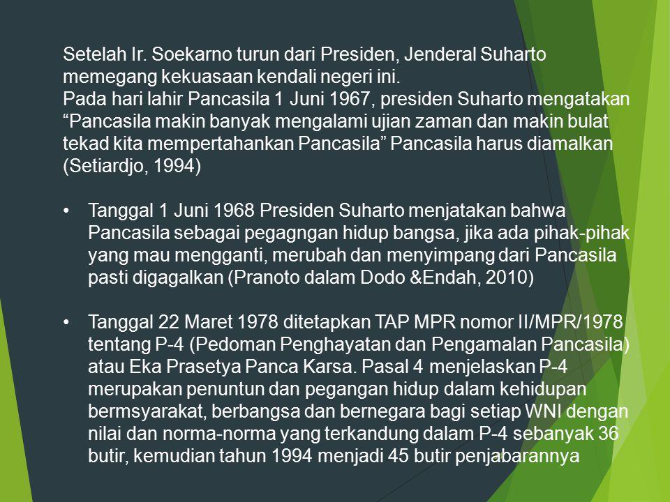 34 Setelah Ir. Soekarno turun dari Presiden, Jenderal Suharto memegang kekuasaan kendali negeri ini. Pada hari lahir Pancasila 1 Juni 1967, presiden S