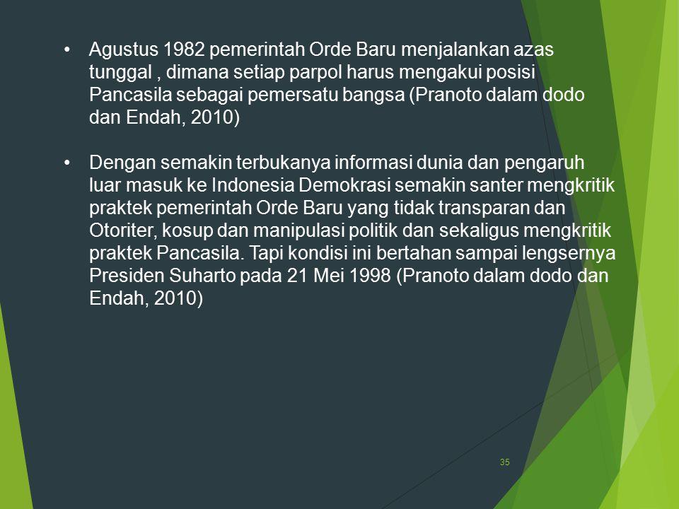35 Agustus 1982 pemerintah Orde Baru menjalankan azas tunggal, dimana setiap parpol harus mengakui posisi Pancasila sebagai pemersatu bangsa (Pranoto