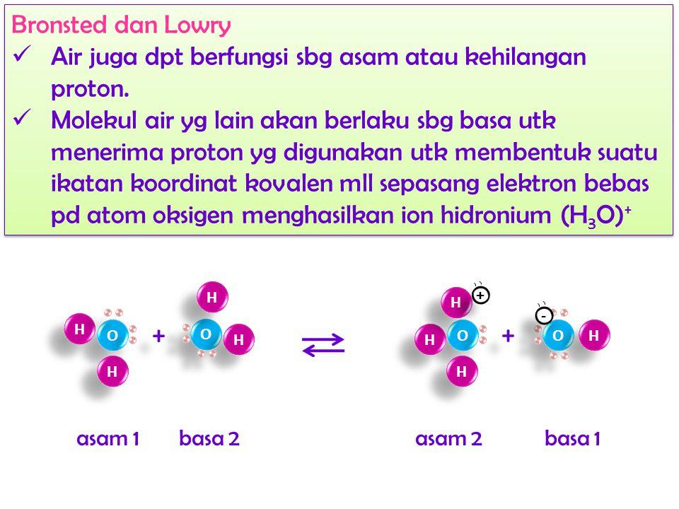 Arrhenius Air merupakan elektrolit lemah dr ionisasi molekul- molekul air itu sendiri → swa-ionisasi (autoionisasi) Arrhenius Air merupakan elektrolit