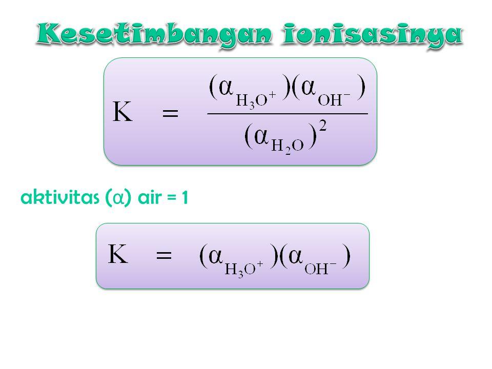 Bronsted dan Lowry Air juga dpt berfungsi sbg asam atau kehilangan proton. Molekul air yg lain akan berlaku sbg basa utk menerima proton yg digunakan
