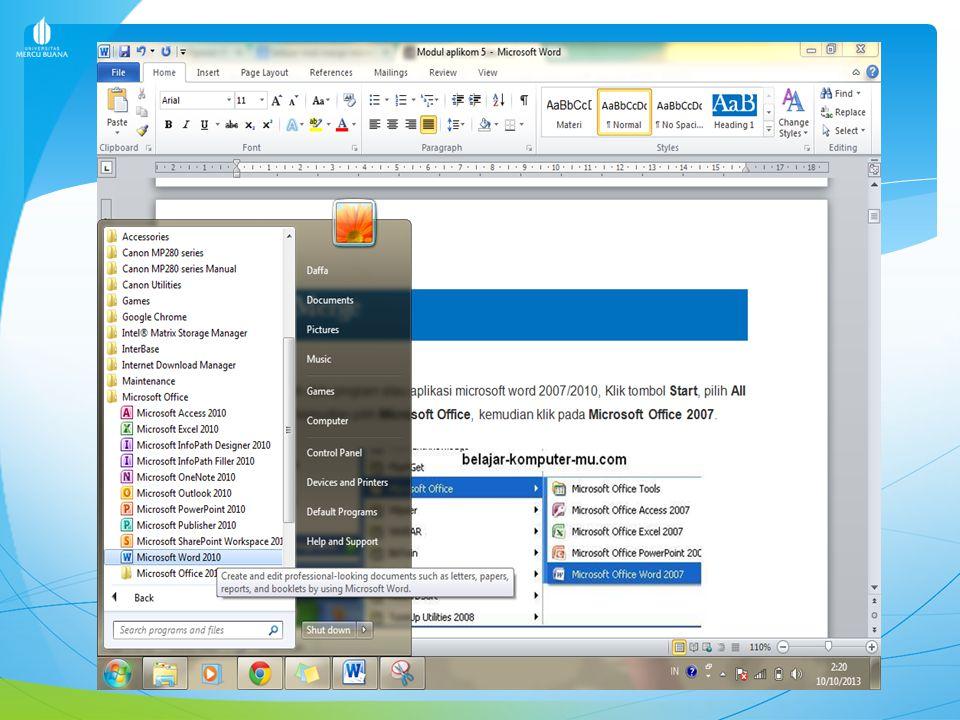 MEMBUAT MAIL MERGE 1.Buka program atau aplikasi microsoft word 2007/2010, Klik tombol Start, pilih All Program, kemudian pilih Microsoft Office, kemud