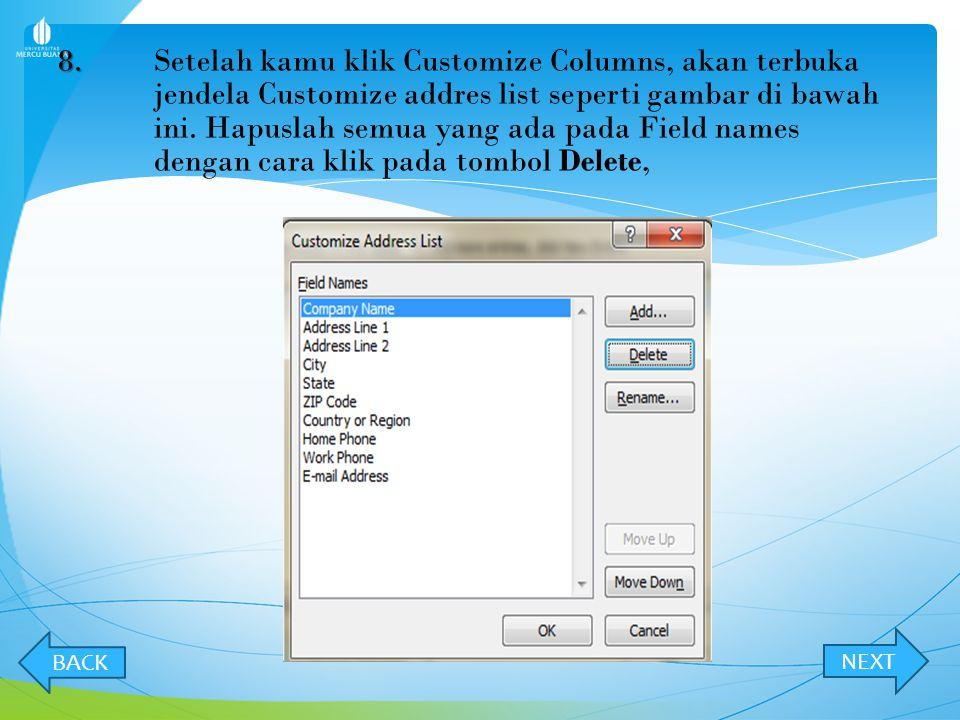 7.7. Setelah klik tombol create, Jendela New Address list akan terbuka seperi gambar di bawah ini.