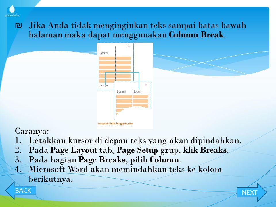 ₪ ₪ Pada contoh ini terdiri dari dua bagian:  Judul (Lorem Ipsum) = satu kolom.  Isi = dua kolom. Untuk gabungan ini, Microsoft Word akan otomatis m
