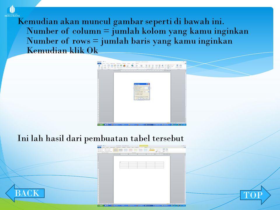 MEMBUAT TABEL Klik insert, table, insert table. Seperti gambar berikut : NEXT BACK