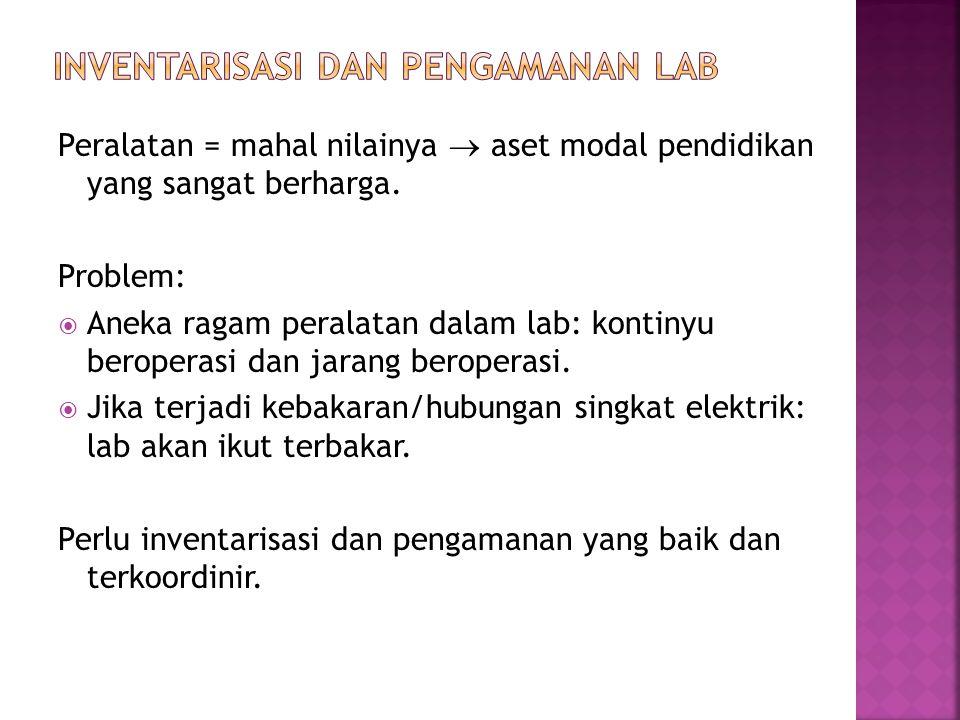 Definisi: pekerjaan pendataan aset modal yang dimiliki oleh sebuah lab.