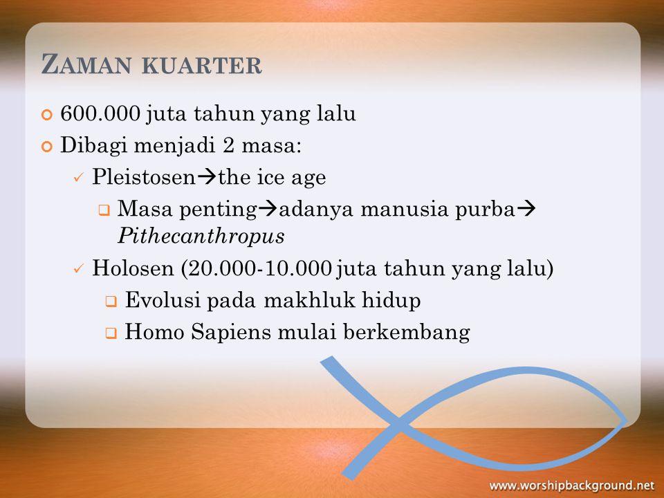 Z AMAN KUARTER 600.000 juta tahun yang lalu Dibagi menjadi 2 masa: Pleistosen  the ice age  Masa penting  adanya manusia purba  Pithecanthropus Ho