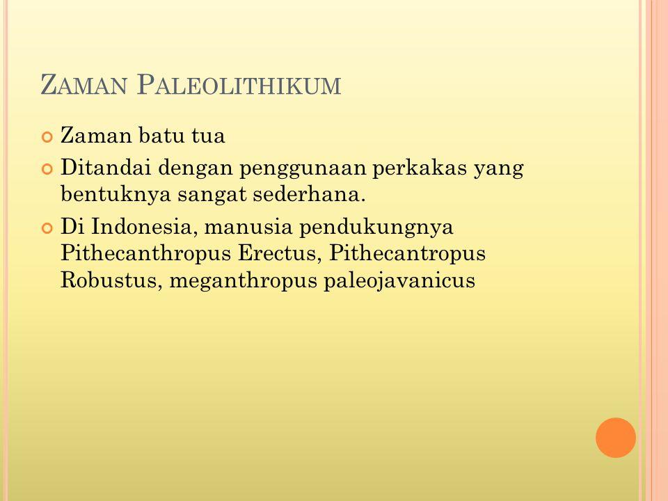 Z AMAN P ALEOLITHIKUM Zaman batu tua Ditandai dengan penggunaan perkakas yang bentuknya sangat sederhana. Di Indonesia, manusia pendukungnya Pithecant