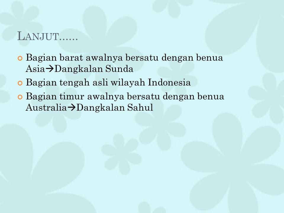 L ANJUT...... Bagian barat awalnya bersatu dengan benua Asia  Dangkalan Sunda Bagian tengah asli wilayah Indonesia Bagian timur awalnya bersatu denga