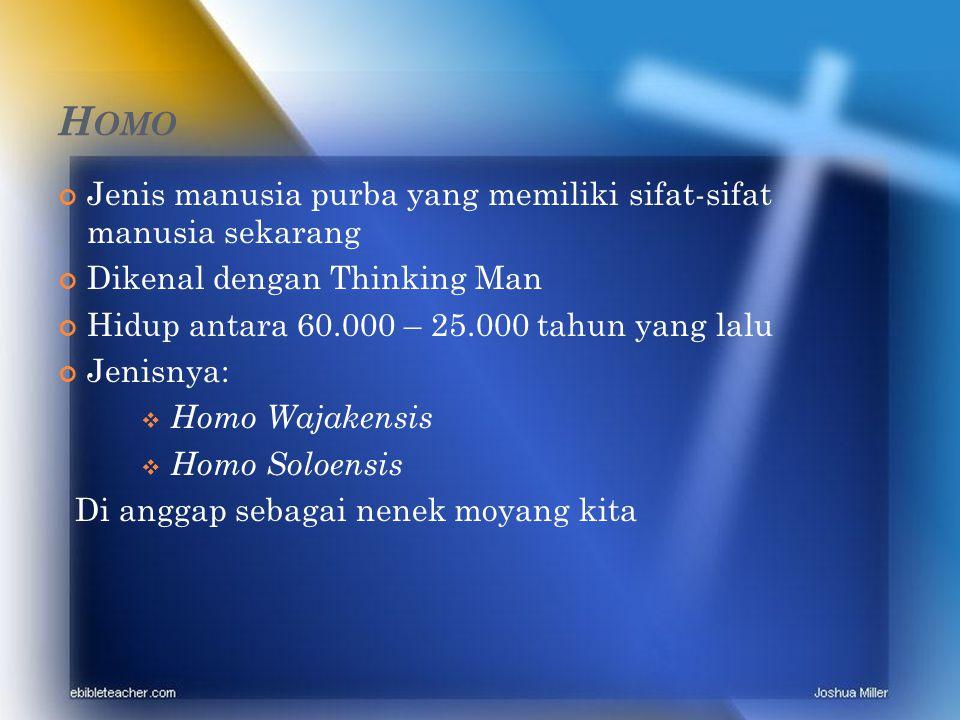 H OMO Jenis manusia purba yang memiliki sifat-sifat manusia sekarang Dikenal dengan Thinking Man Hidup antara 60.000 – 25.000 tahun yang lalu Jenisnya