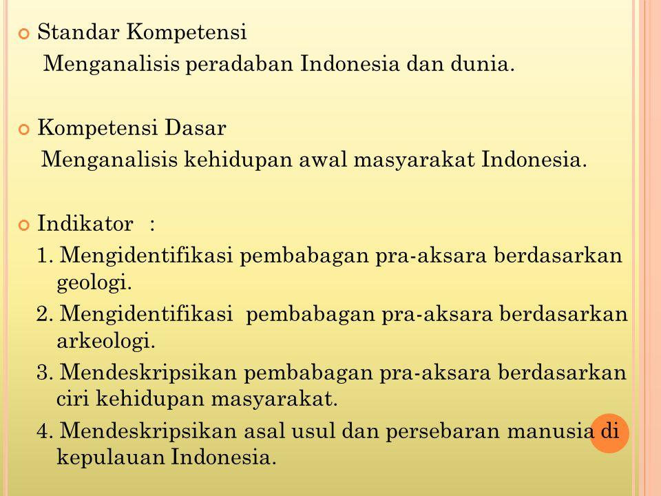 Standar Kompetensi Menganalisis peradaban Indonesia dan dunia. Kompetensi Dasar Menganalisis kehidupan awal masyarakat Indonesia. Indikator: 1. Mengid