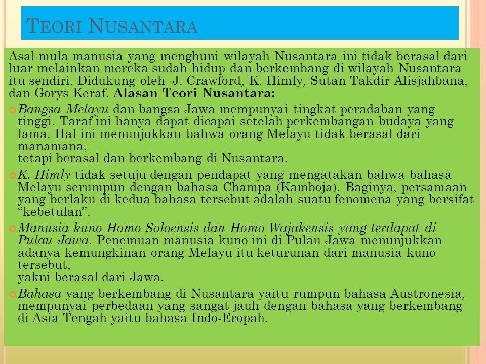 T EORI N USANTARA Asal mula manusia yang menghuni wilayah Nusantara ini tidak berasal dari luar melainkan mereka sudah hidup dan berkembang di wilayah