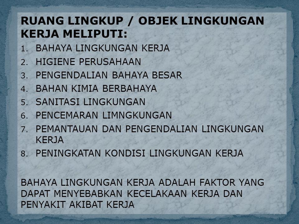FAKTOR BAHAYA LINGKUNGAN KERJA TERDIRI DARI : 1.FAKTOR FISIK 2.