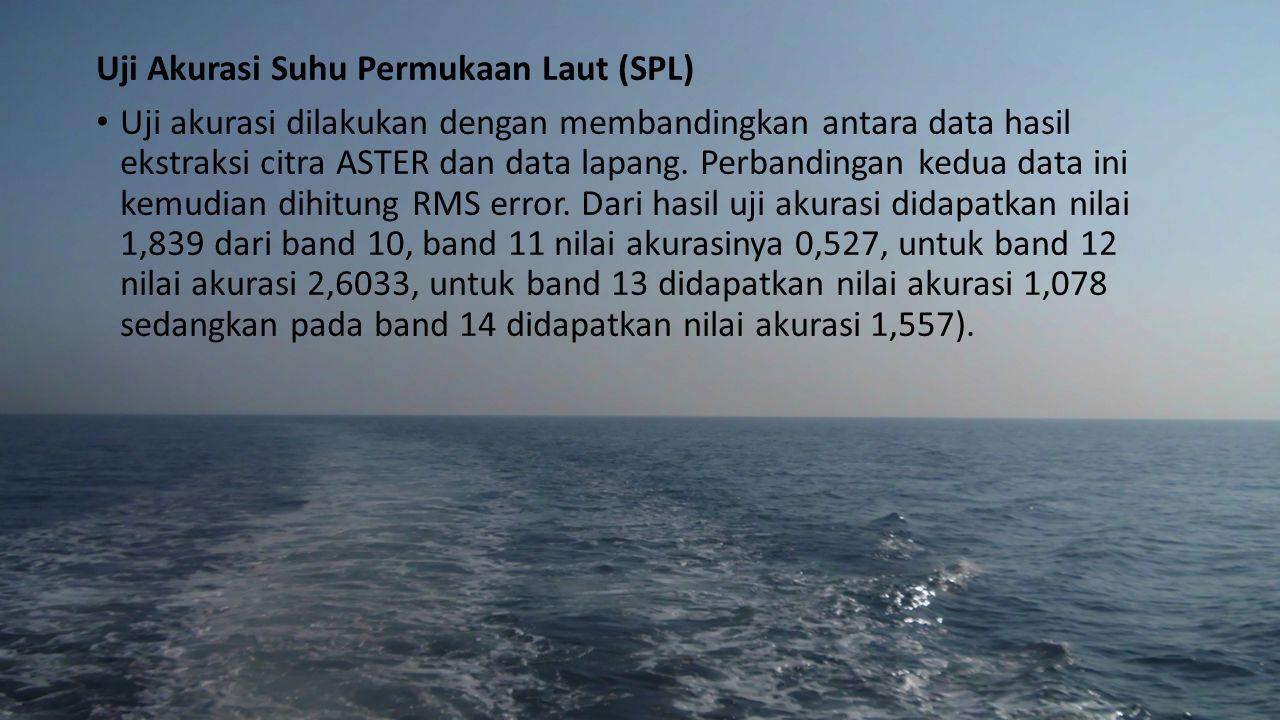 Uji Akurasi Suhu Permukaan Laut (SPL) Uji akurasi dilakukan dengan membandingkan antara data hasil ekstraksi citra ASTER dan data lapang. Perbandingan