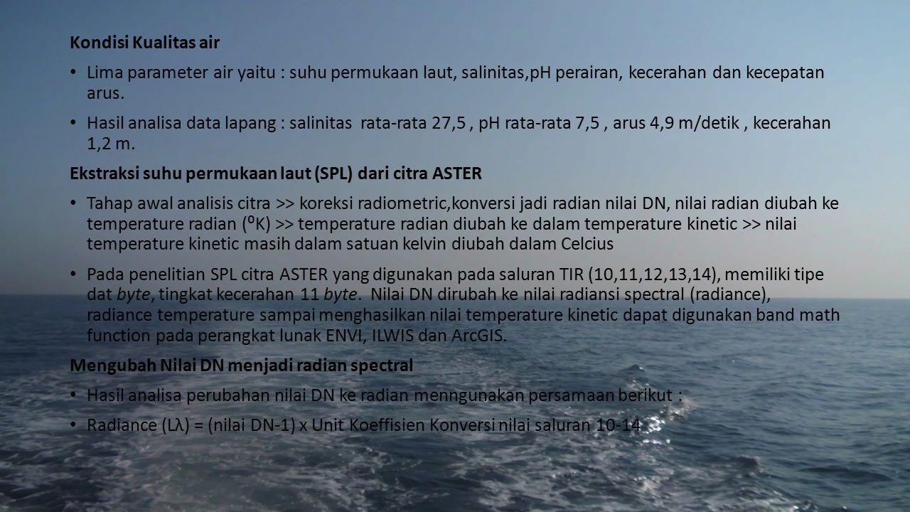 Kondisi Kualitas air Lima parameter air yaitu : suhu permukaan laut, salinitas,pH perairan, kecerahan dan kecepatan arus. Hasil analisa data lapang :