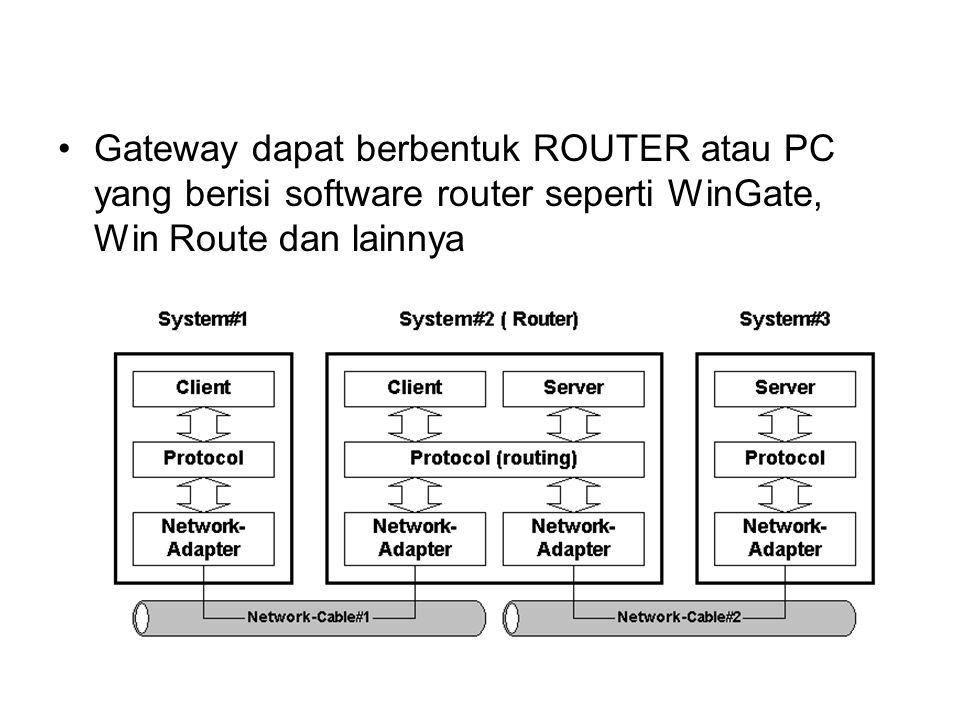 PC yang berisi software router biasanya disebut NAT singkatan dari Network Address Translation, yaitu fungsi kecil dari router yang gunanya menggandakan IP Address sehingga perangkat- perangkat yang ada di belakangnya bisa mengakses jaringan Internet Komputer yang menggunakan sambungan NAT tidak bisa diakses dari luar jaringan