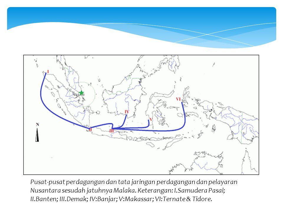 Pusat-pusat perdagangan dan tata jaringan perdagangan dan pelayaran Nusantara sesudah jatuhnya Malaka. Keterangan: I.Samudera Pasai; II.Banten; III.De