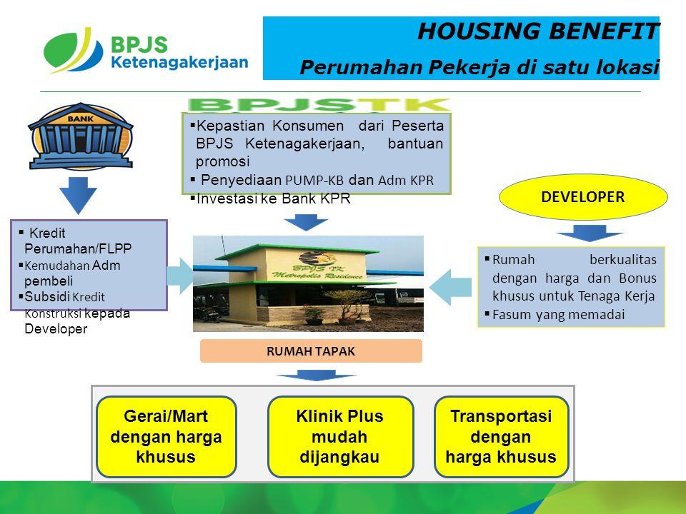 2 HOUSING BENEFIT Perumahan Pekerja di satu lokasi  Kepastian Konsumen dari Peserta BPJS Ketenagakerjaan, bantuan promosi  Penyediaan PUMP-KB dan Ad