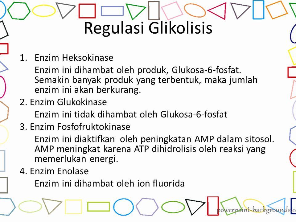 Regulasi Glikolisis 1.Enzim Heksokinase Enzim ini dihambat oleh produk, Glukosa-6-fosfat. Semakin banyak produk yang terbentuk, maka jumlah enzim ini