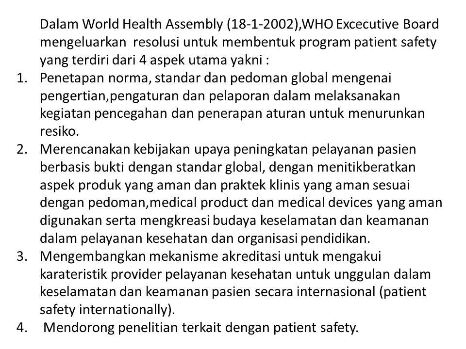 Dalam World Health Assembly (18-1-2002),WHO Excecutive Board mengeluarkan resolusi untuk membentuk program patient safety yang terdiri dari 4 aspek ut
