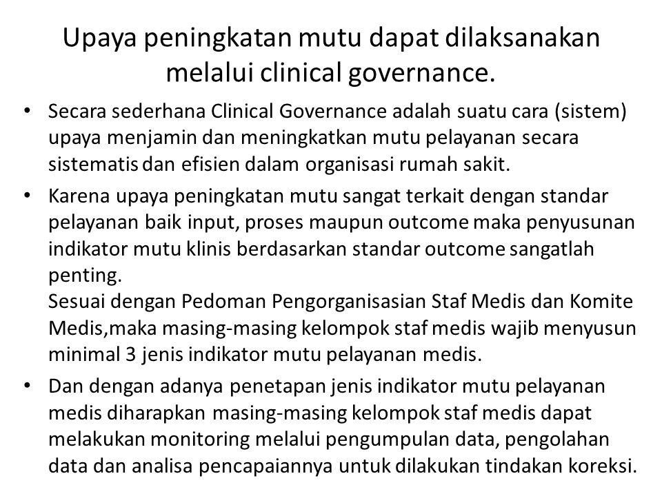 Upaya peningkatan mutu dapat dilaksanakan melalui clinical governance. Secara sederhana Clinical Governance adalah suatu cara (sistem) upaya menjamin