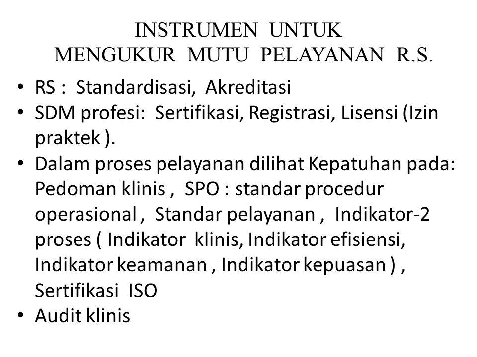 INSTRUMEN UNTUK MENGUKUR MUTU PELAYANAN R.S. RS : Standardisasi, Akreditasi SDM profesi: Sertifikasi, Registrasi, Lisensi (Izin praktek ). Dalam prose