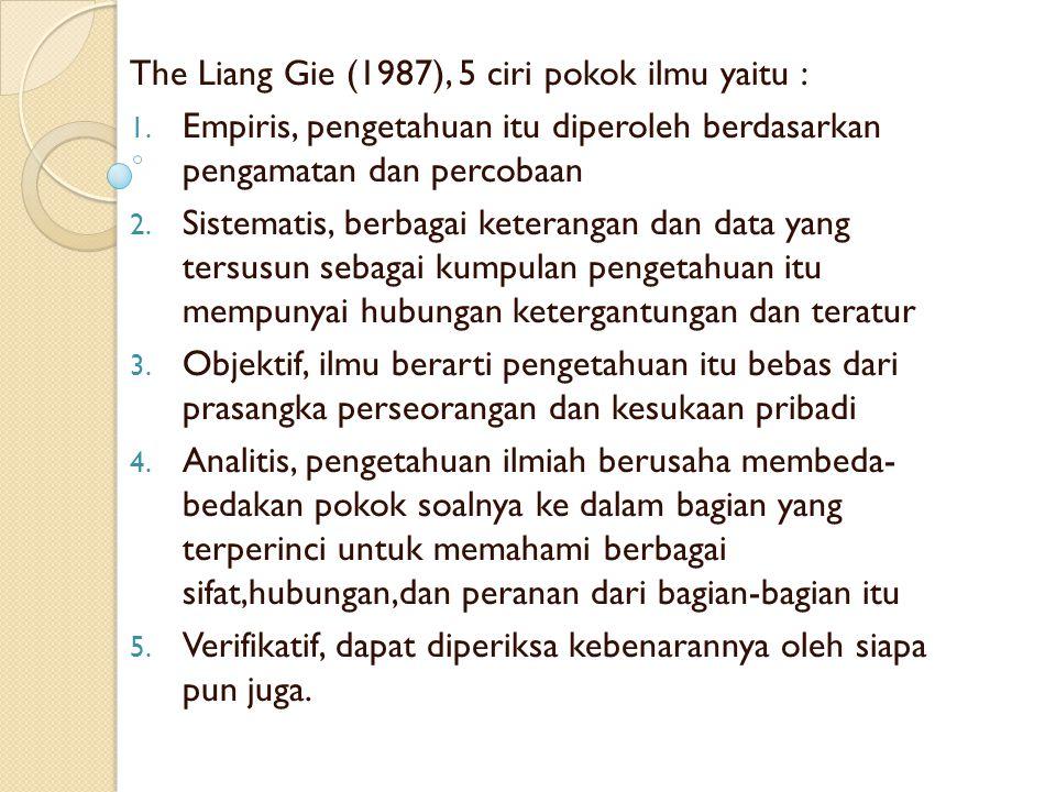 The Liang Gie (1987), 5 ciri pokok ilmu yaitu : 1.