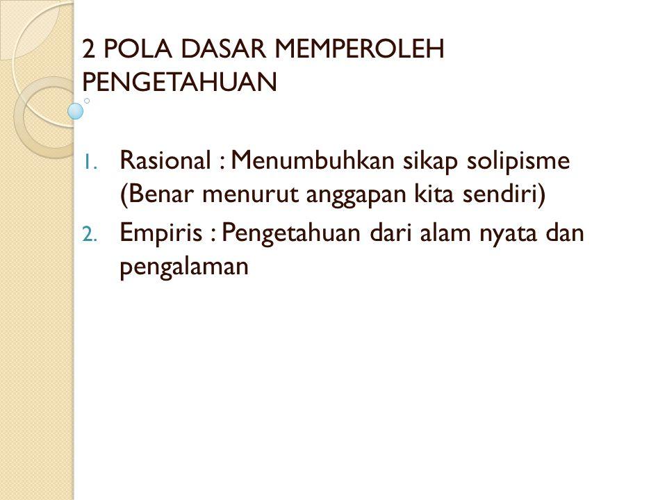 2 POLA DASAR MEMPEROLEH PENGETAHUAN 1.