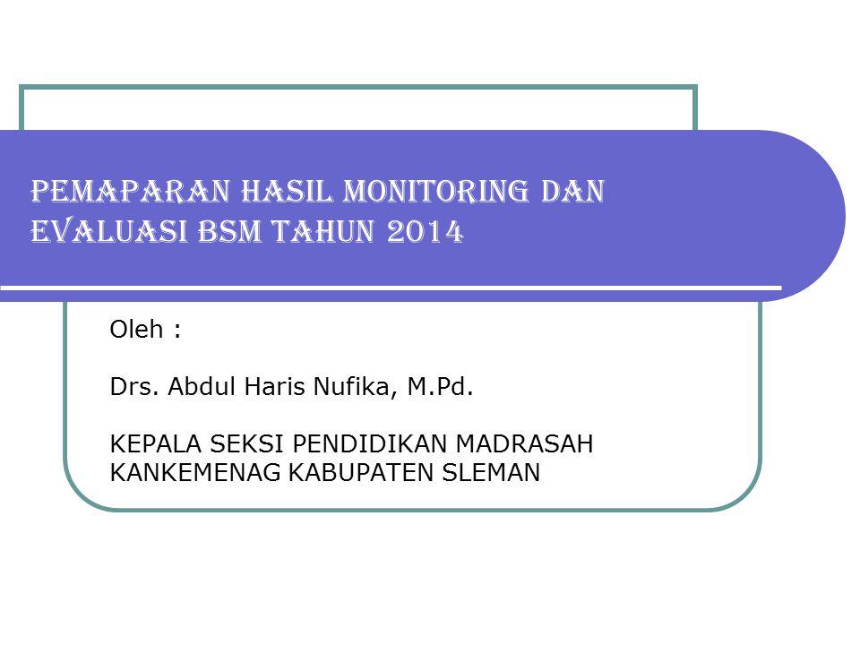PEMAPARAN HASIL MONITORING DAN EVALUASI BSM TAHUN 2014 Oleh : Drs. Abdul Haris Nufika, M.Pd. KEPALA SEKSI PENDIDIKAN MADRASAH KANKEMENAG KABUPATEN SLE
