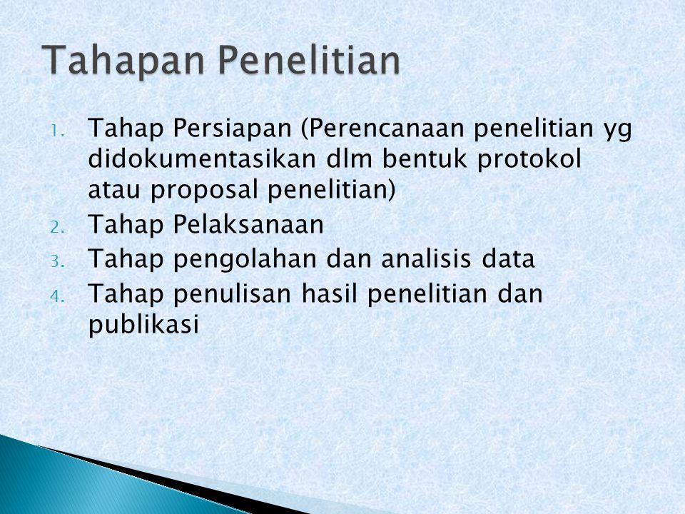 1. Tahap Persiapan (Perencanaan penelitian yg didokumentasikan dlm bentuk protokol atau proposal penelitian) 2. Tahap Pelaksanaan 3. Tahap pengolahan